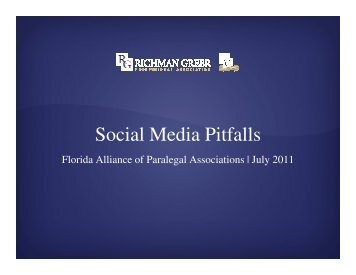 Social Media Pitfalls - Richman Greer, P.A.
