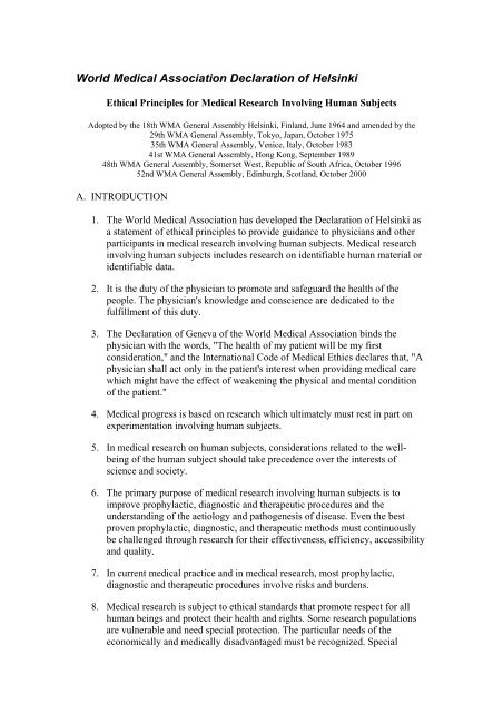 World Medical Association Declaration of Helsinki pdf