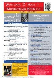 Vorschau - Wolfgang G. Haas. - Musikverlag Köln ek
