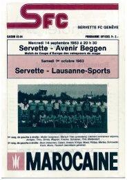 Programme - Vive le Servette FC