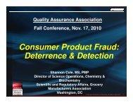 Consumer Product Fraud - Quality Assurance Association