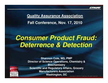 Consumer Product Fraud - Quality Assurance Association