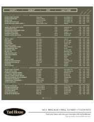 Beer Menu - Yard House Restaurants