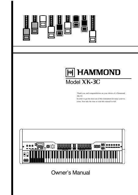 Hammond XK 3C Owner S Manual