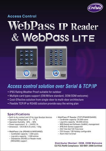 Access control solution over Serial & TCP/IP