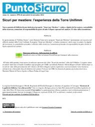 Sicuri per mestiere: l'esperienza della Torre Unifimm - PuntoSicuro