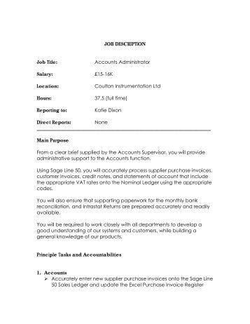 JOB DESCRIPTION Job Title: Accounts Administrator Salary: £15 ...