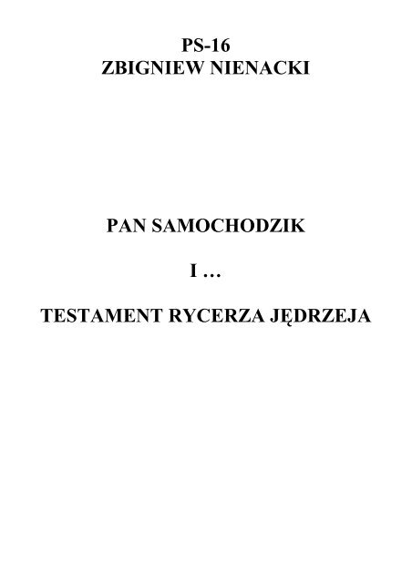 16 Pan Samochodzik I Testament Rycerza Jędrzeja Zbigni