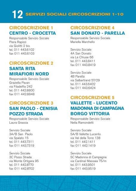 Servizi Sociali a Torino Circoscrizioni 1-10 - Città di Torino