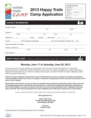 2013 Happy Trails Camp Application - Indian Trails Camp