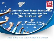 APS Common Core State Standards - Mathematically Connected ...