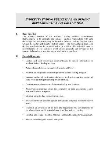 Indirect Lending Business Development Representative Job Description