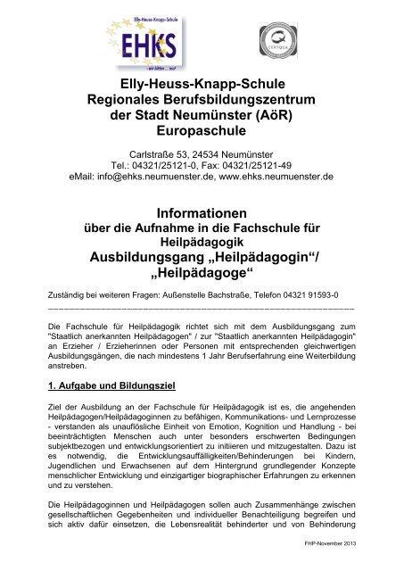 Fachschule für Heilpädagogik - Elly-Heuss-Knapp-Schule - Stadt ...