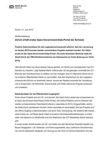 Zürich erhält erstes Open-Government-Data-Portal der ... - eZürich