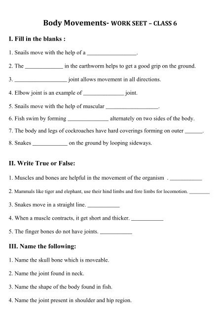 Body Movements WORK SEET CLASS 6 I Fill In The Blanks