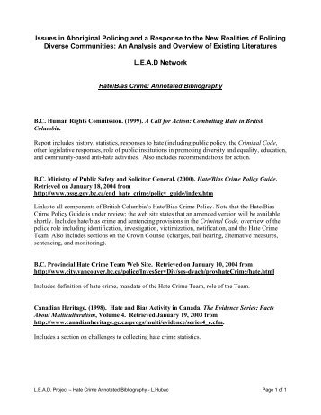 Hate/Bias Crime: Annotated Bibliography - Alberta Hate Crimes ...