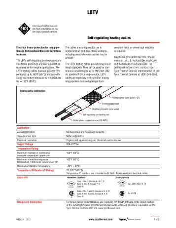 Self-regulating heating cables - Tyco Thermal Controls