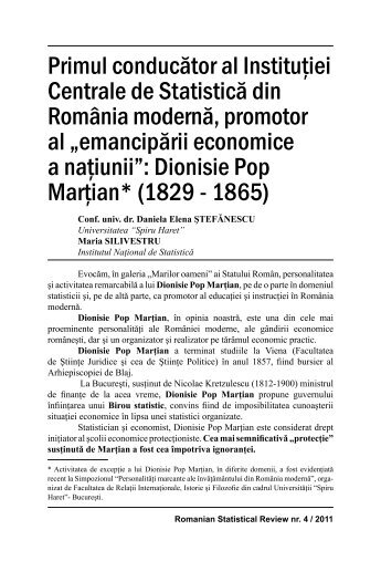 primul conducător al instituţiei centrale - Revista Română de Statistică