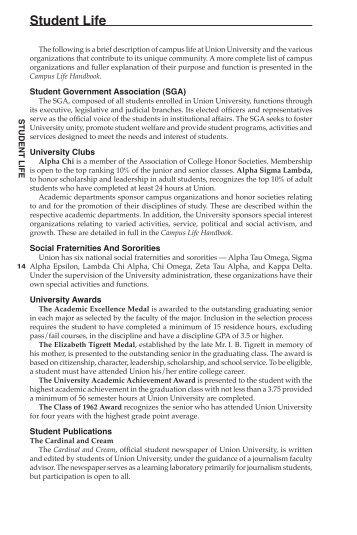 Student Life - Union University