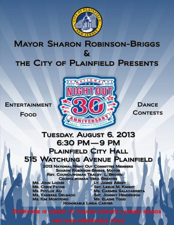 Mayor Sharon Robinson-Briggs & the City of Plainfield Presents