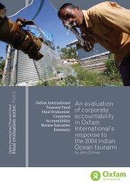 Corporate accountability summary report - Oxfam International