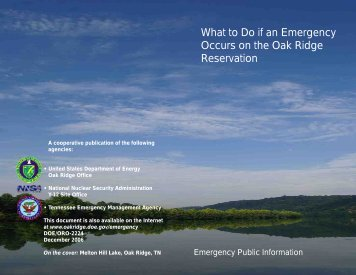 What To Do If An Emergency Occurs On - DOE Oak Ridge Operations