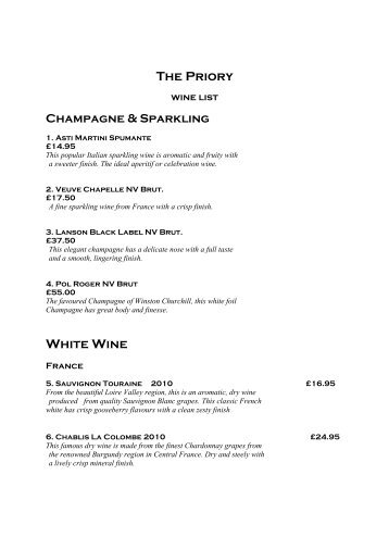View our wine list here - The Priory Hotel