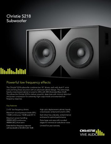 Christie Vive Audio Subwoofer - S118 Datasheet - Christie Digital ...