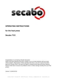 OPERATING INSTRUCTIONS for the heat press Secabo TCC