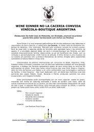 wine dinner no la caceria convida vinícola-boutique ... - Phosphoros