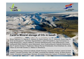 CarbFix Mineral storage of CO2 in basalt - CO2Geonet