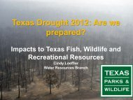 Impacts to Texas Fish, Wildlife and Recreation Resources