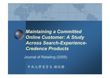 Maintaining a Committed Online Customer: A Study Across Search ...