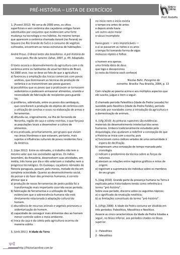 PRÉ-‐HISTÓRIA – LISTA DE EXERCÍCIOS