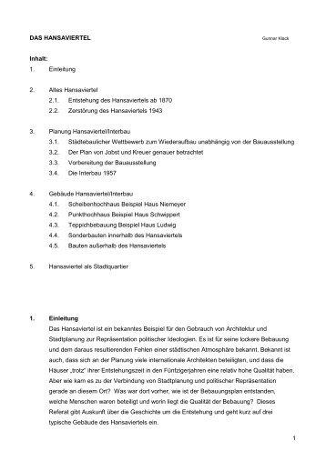1 DAS HANSAVIERTEL Inhalt: 1. Einleitung 2. Altes ... - Wiederaufbau