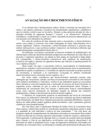 AVALIAÇÃO DO CRESCIMENTO FÍSICO - Portal Saude Brasil . com