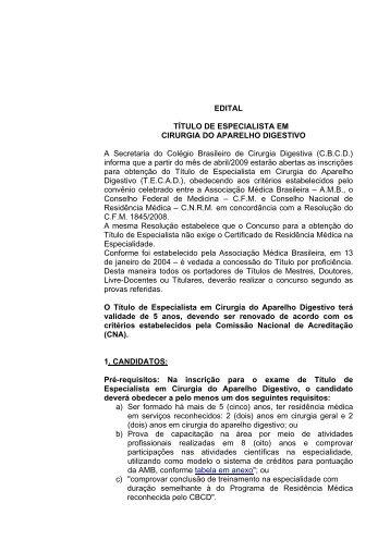 EDITAL 2009 - Colégio Brasileiro de Cirurgia Digestiva