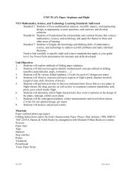 UNIT PLAN: Paper Airplanes and Flight NYS Mathematics, Science ...