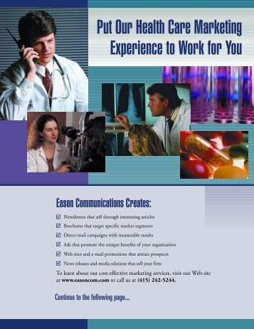Put Our Health Care Marketing Experience to Work for You - Eason ...