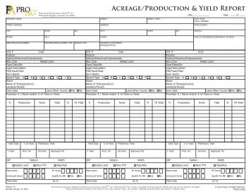 Acreage/Production & Yield Report - ProAg