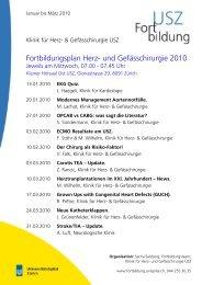 Fortbildungsplan Herz- und Gefässchirurgie 2010 - Klinik für Herz ...