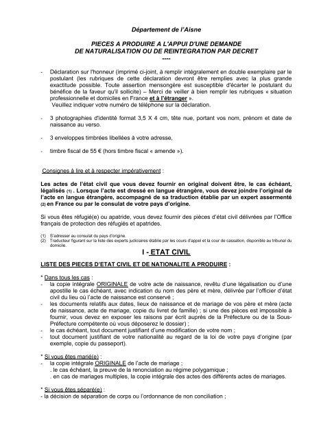 Liste Pieces Nat Decret Préfecture De L Aisne