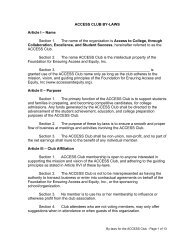 ACCESS CLUB BY-LAWS Article I – Name Section 1. The name of ...