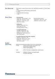 Raw materials sheet sizes Quality (standard) - Wehrhahn