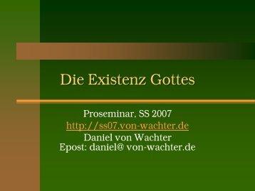Die Existenz Gottes - Daniel von Wachter