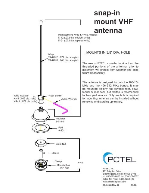snap-in mount VHF antenna