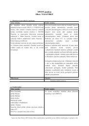 SWOT analýza Obec: NASAVRKY - Chrudim