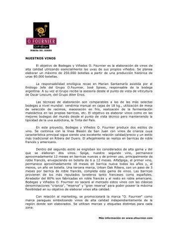 NUESTROS VINOS El objetivo de Bodegas y Viñedos O. Fournier ...