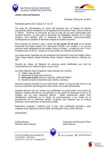 Santiago, 28 de junio de 2013 Estimados padres - Deutsche Schule ...