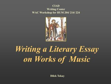 Writing a Literary Essay on Works of Music - CENTER FOR ...